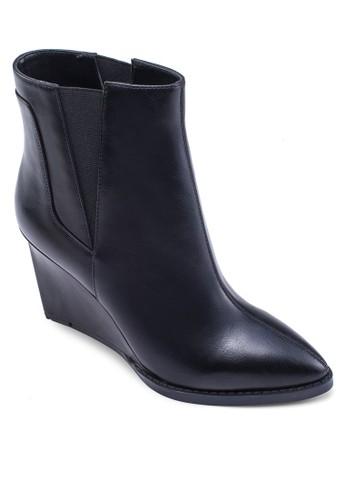 楔形跟仿皮短靴, 女鞋, zalora 鞋評價靴子