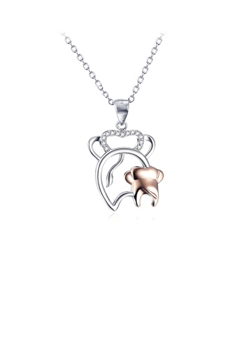Glamorousky white 925 Sterling Silver Fashion Simple Two-color Elephant Mother and Child Pendant with Cubic Zirconia and Necklace BFE4EAC9F7A95FGS_1