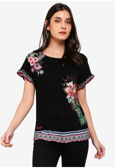 Desigual black Medoc Floral Top 3B5C5AAB46C9B3GS 1 285bb7840