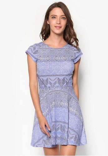 Penelope zalora 衣服評價印花傘擺洋裝, 服飾, 服飾