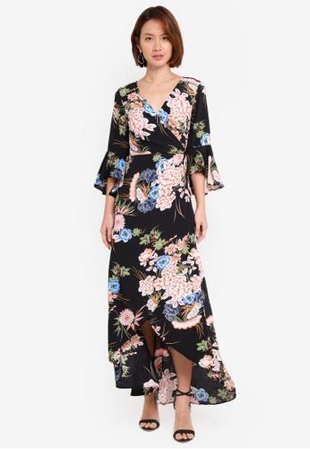 INDIKAH black Fluted Sleeve Wrap Maxi Dress EA82DAAD2D237AGS_1