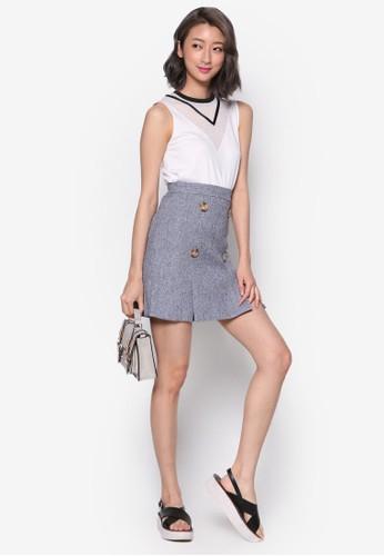 雙排扣褶esprit 評價飾迷你短裙, 服飾, 裙子
