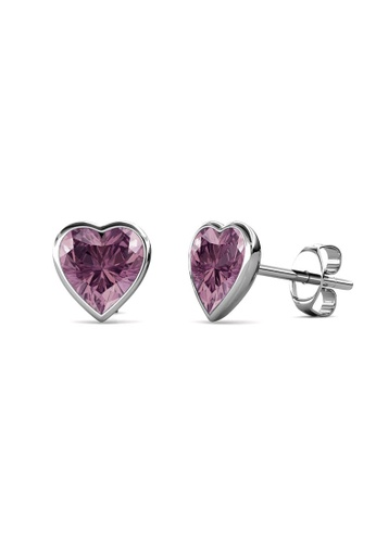 Her Jewellery silver Sweet Stone Earrings (Mauve) -  Made with premium grade crystals from Austria 6E0E2AC5A90C59GS_1