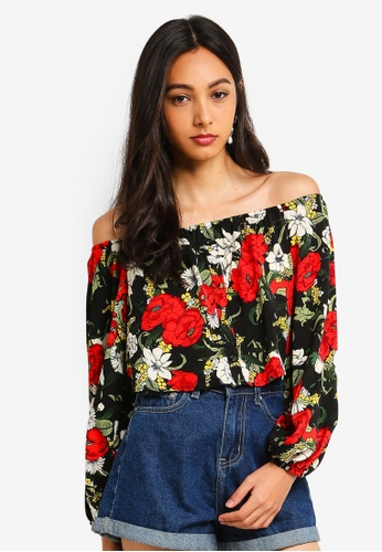 31e493aa436 Shop MISSGUIDED Petite Floral Balloon Sleeve Bardot Top Online on ZALORA  Philippines