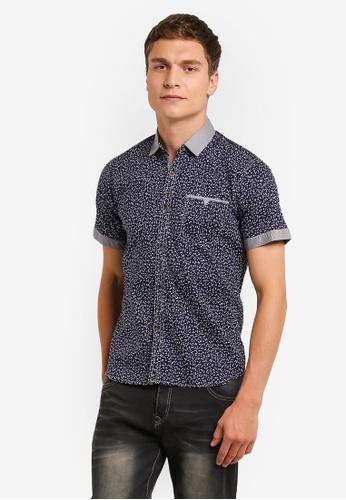 Fidelio blue Microprint Short Sleeves Shirt FI826AA0RLWUMY_1