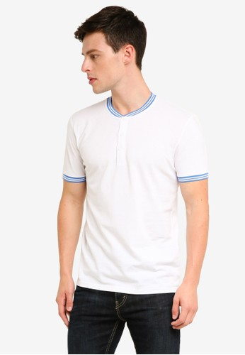 ESPRIT white and multi Short Sleeve Polo Shirt 36313AAC83E825GS_1
