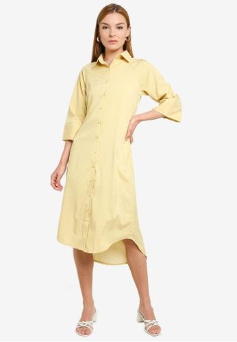 ZALORA white and yellow Midi Shirt Self Tie Dress 478F5AA2C0EA0FGS_1