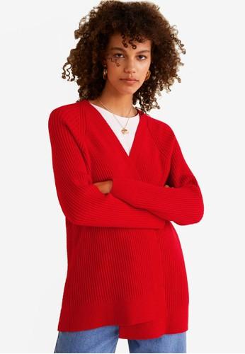 MANGO red Ribbed Cardigan 2FE93AA047CB6BGS_1