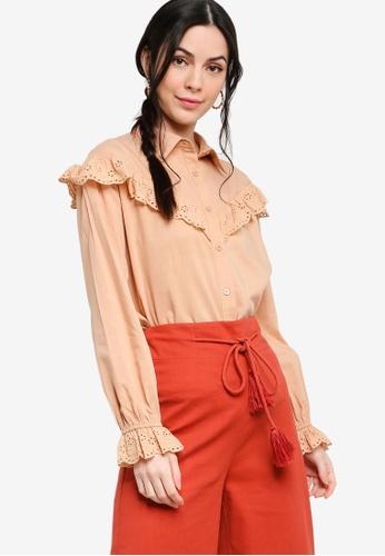 Zalia brown Eyelet Lace Frill Shirt A41D3AA12F868BGS_1