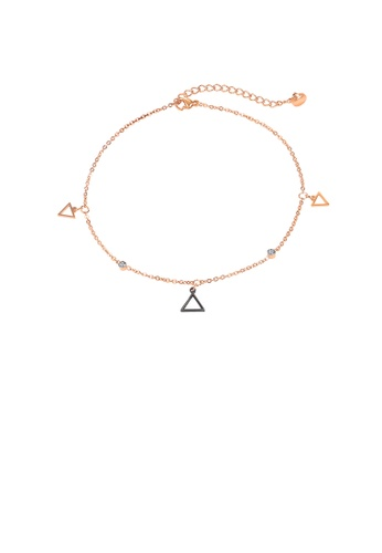 Glamorousky white Simple and Exquisite Plated Rose Gold Geometric Triangle 316L Stainless Steel Anklet with Cubic Zirconia FC56EAC19A7BDDGS_1
