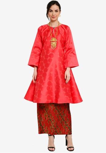 Yans Creation red Kurung Pahang Moden Pleated 9CE72AA10D6E50GS_1