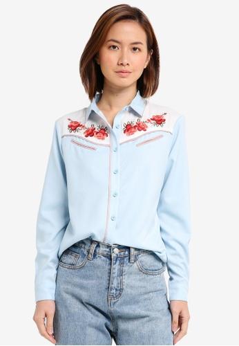 ZALORA blue Embroidered Western Blouse 9D163AAE2C6E49GS_1