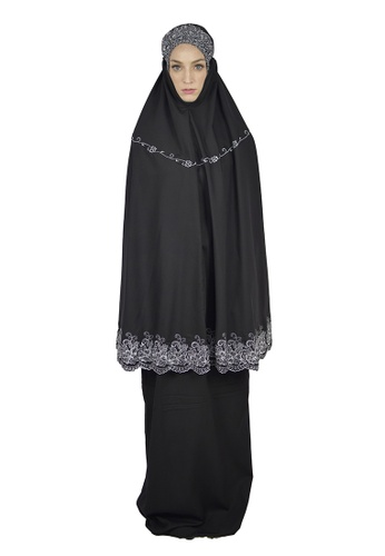 Cantik Butterfly black Sayida Embroidered Telekung Set (Black) 17654AA6734886GS_1