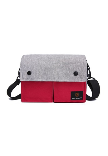 The Dude grey and red Wander Sling Bag 9D192AC7AC4EC1GS_1