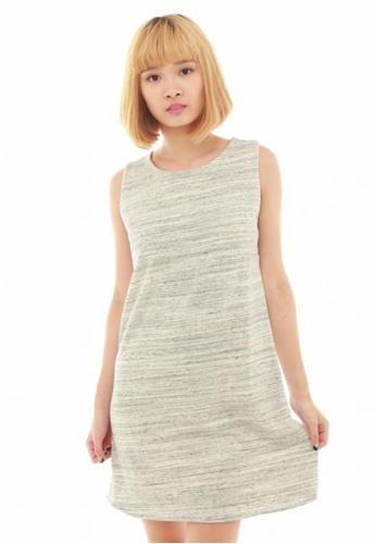 LUXORA grey Stripe Pastel Grey White Cotton Dress LU926AA44QTRSG_1