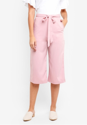 Something Borrowed pink Tie Front Culottes 7E567AA5AD56FFGS_1
