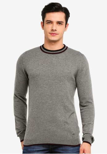 !Solid grey Simon Wool Mix Knit Sweater 8FA62AAF43455AGS_1