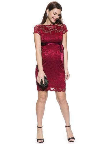 Mayarya red Short Sleeve Lace Maternity Dress AAC83AA425532BGS_1