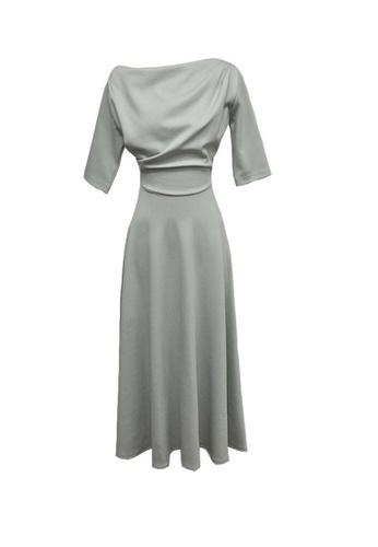 Crystal Korea Fashion grey New Temperament Shoulder Waist Slimming A-line Dress AA932AA0FB865CGS_1