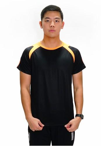 Trijee black and orange Trijee Men Short Sleeve Tee John Black Red CFB2CAA4517D8CGS_1