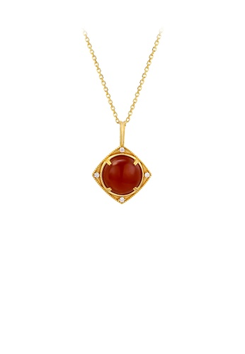 Glamorousky white 925 Sterling Silver Plated Gold Simple Fashion Carnelian Geometric Diamond Pendant with Cubic Zirconia and Necklace 88B25ACAEDF83CGS_1