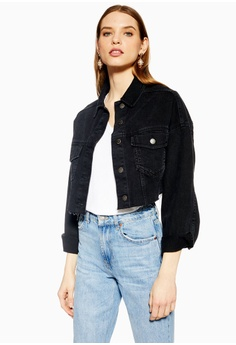 a7343542c1215 TOPSHOP Hacked Off Denim Cropped Jacket RM 269.00. Sizes 4 6 8 10 12