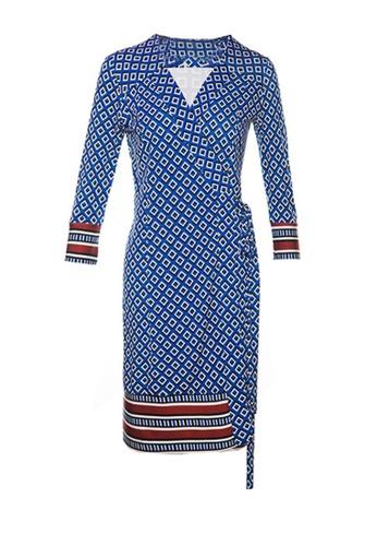 Twenty Eight Shoes blue VANSA Square Print Wrap Dress VCW-D02 10127AA5A87327GS_1