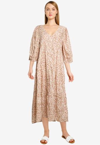 Cotton On multi Woven Kaia Button Through Midi Dress EA304AA6BD4AECGS_1