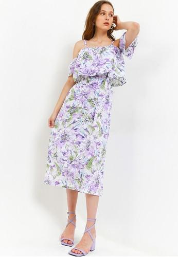 Bodytalk white and purple Aster Sleeveless Dress 7C980AA6B38227GS_1