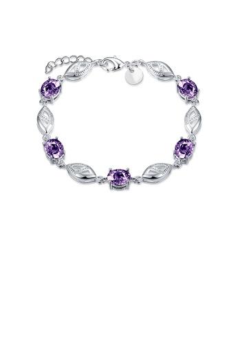 Glamorousky purple Simple Leaf Bracelet with Purple Austrian Element 96D00ACFFDCA8DGS_1