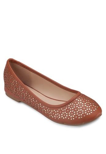 Jacky 雕花圓頭平底鞋, 女鞋, zalora開箱芭蕾平底鞋