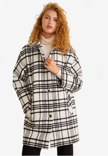 Mango white Check Unstructured Coat D9DB7AAC8307F5GS_1