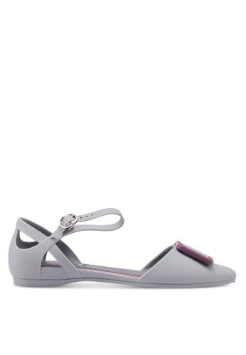Twenty Eight Shoes 灰色 金屬飾繞踝平底鞋 12338SH1B15086GS_1
