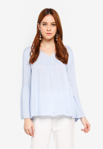 Zalia blue V-Neck Loose Top 11084AA9BC0CC5GS_1