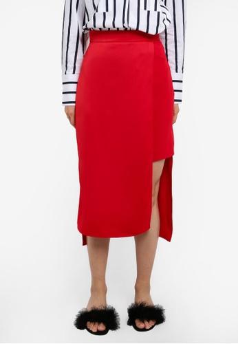 River Island red Wrap Midi Skirt RI009AA0RUAWMY_1