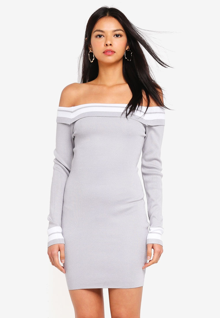 Ice Dress Mini MISSGUIDED Bardot Knitted Grey Tipped 8qTwZZB