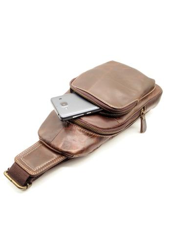 LUXORA brown Top Grain Leather Sling Shoulder Crossbody Bag LU926AC0FG31SG_1