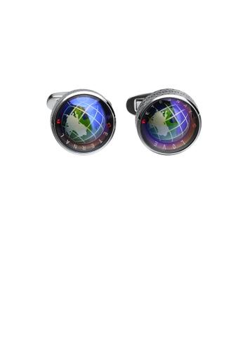 Glamorousky silver Fashion and Elegant Blue Rotating Globe Geometric Cufflinks 542F1ACFFE6EF7GS_1