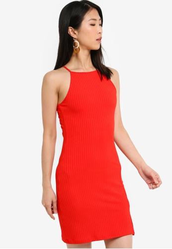 ZALORA BASICS red Basic Halter Bodycon Dress B1797AA1406046GS_1