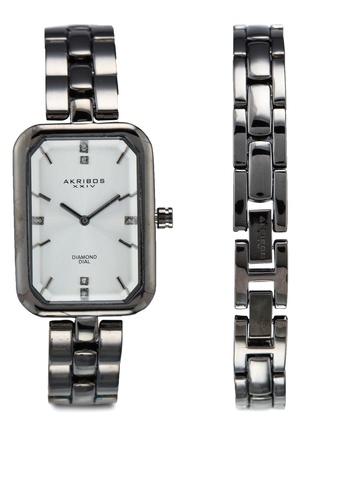 Akribos XXIV grey Diamond Watch+Bracelet Set 9B047ACE0412C9GS_1