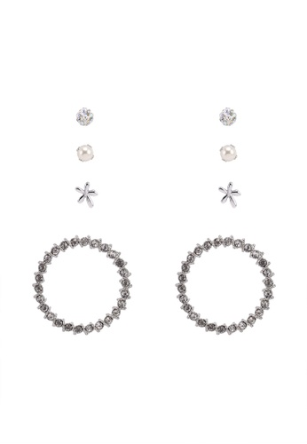 Red's Revenge silver 4-In-1 Daring Diamante Silver Circle Dangle & Studs Earrings Set 73BC6AC3C77A29GS_1