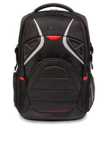 "Targus black and white and red Targus 17.3"" Strike Gaming Backpack (Black) FED2EACB59A6E2GS_1"