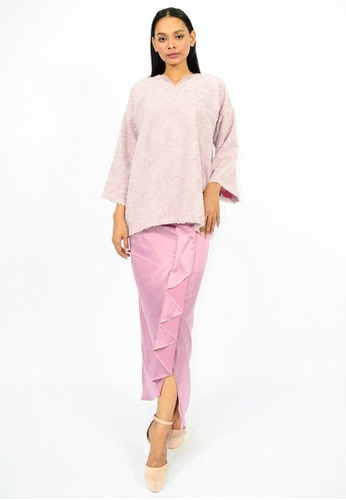 Kurung Wafiyyah from Watie Collections in Pink and Purple