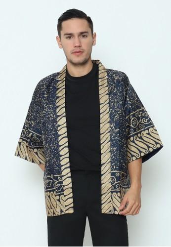 Rinjanie Avon gold and navy Rinjanie Avon - Outer Kimono Batik Navy Abstrak 6EDCCAA2547470GS_1