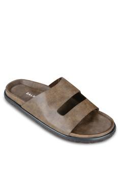 Cutout Faux Leather Sandals