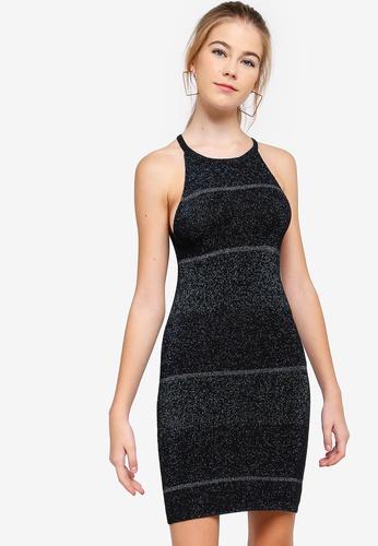 Something Borrowed multi and navy Lurex Bodycon Mini Dress 87AA0AA3CD1810GS_1