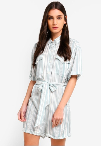 ZALORA green and multi Self Tie Playsuit 95D6BAA6C92D45GS_1