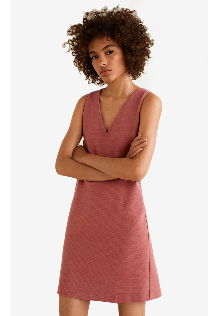 Textured Dress Cotton Mango Pink Blend rvrTawqxp