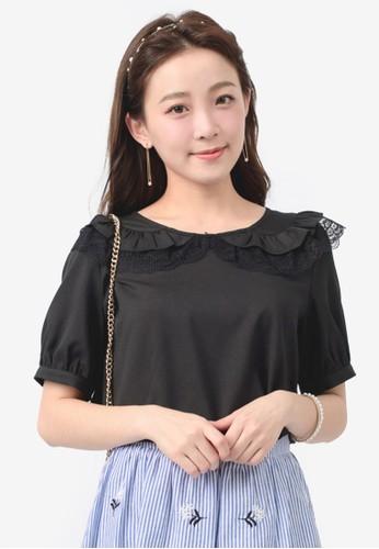 Yoco black Lace & Ruffled Collared Blouse 59BB4AA5E3300FGS_1