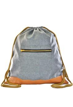 Grey Drawstring Bag with zipper pocket